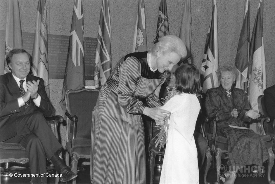 Governor General of Canada Jeanne Sauvé accepting the Nansen Award, 1986